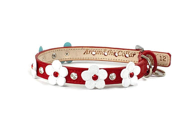 Ellie Flower Leather Dog Collar-Swarovski Crystals on Flower & Strap - Around The Collar NY