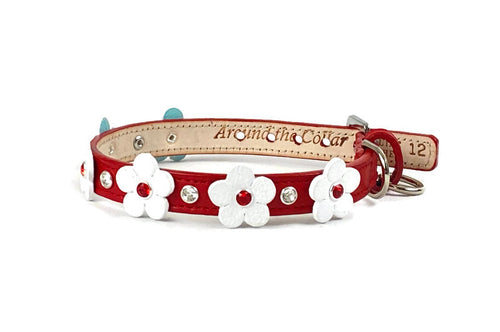 Ellie Flower Leather Dog Collar-Bevel Set Crystals on Flower & Strap - Around The Collar NY