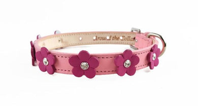 Ellie Flower Swarovski Crystal Leather Dog Collar - Around The Collar NY