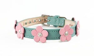 Ellie Flower Crystal Leather Dog Collar - Around The Collar NY