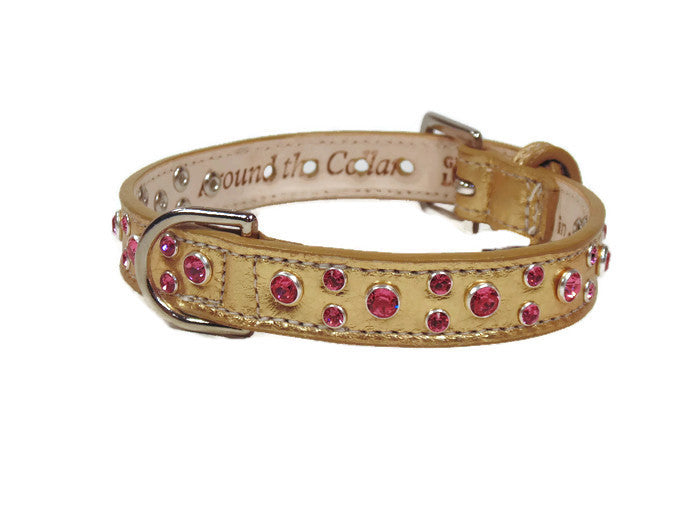 Leah Leather Dog Collar with Small Swarovski Stones on Edge. Medium down center cluster - Around The Collar NY