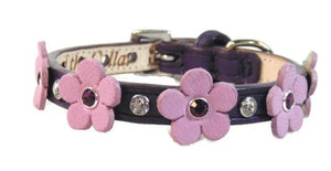 Ellie Flower Leather Dog Collar-Crystals on Flower & Strap - Around The Collar NY