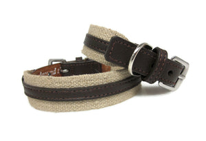 Hemp and Leather Dog Collar