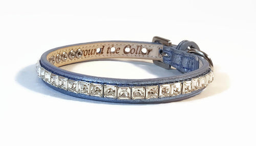 Hopee Leather Dog Collar with Single Row of Square Swarovski Crystals Close Together - Around The Collar NY