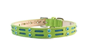 Huck Leather Dog Collar with Double Row Inserts & Double Row Swarovski Crystals - Around The Collar NY