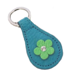 Ellie Leather Key FOB Swarovski Crystal on Flower - Around The Collar NY