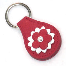 Load image into Gallery viewer, Penelope Flower Leather Key FOB with Swarovski Crystal on Flower