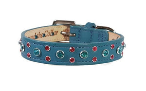 Leah Leather Dog Collar Cluster with Small Crystals on Edge. Medium down center - Around The Collar NY