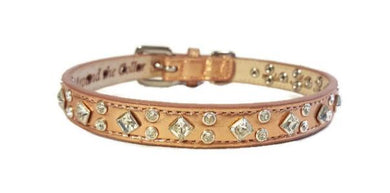 Lexus Leather Swarovski Cluster Dog Collar - Around The Collar NY