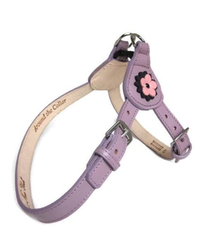 Penelope Flower Leather  Dog Step-In Harness with Swarovski Crystal on Flower