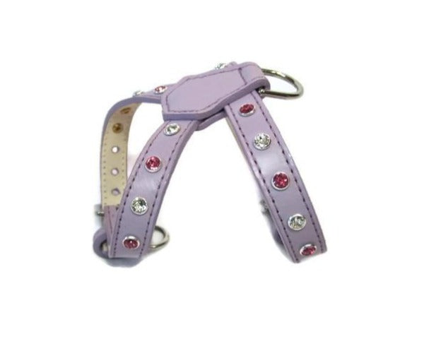 Brie Leather K Harness 2 Tone Swarovski Crystals on straps only - Around The Collar NY