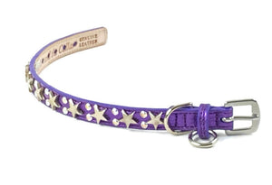 Lincoln Leather Dog Collar with Nickel Stars and Swarovski Jewel Cluster - Around The Collar NY