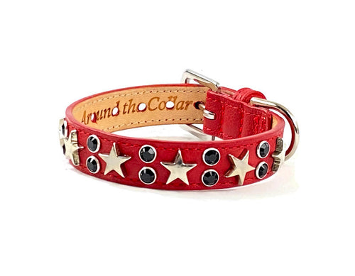 Lincoln Leather Dog Collar with Nickel Stars and Swarovski Jewel Cluster