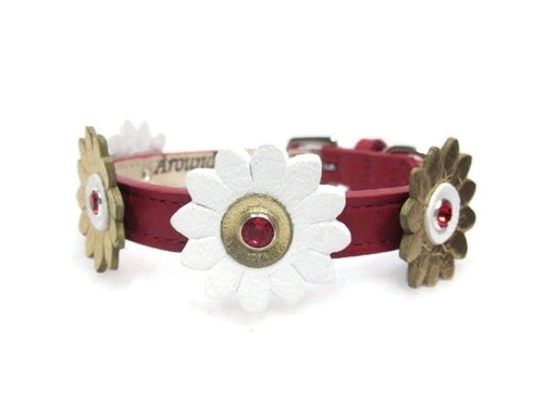 Maci Leather Flower Collar with Swarovski Crystal on Flower - Around The Collar NY