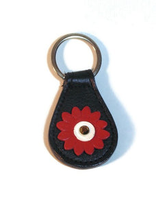Maci Leather Flower Key FOB - Around The Collar NY