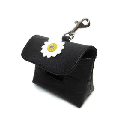 Maci Leather Flower Poop Bag Holder - Around The Collar NY