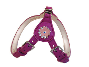 Penelope Flower Leather  Dog Step-In Harness with Swarovski Crystal on Flower - Around The Collar NY