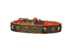 Brie Camouflage Dog Collar w/Leather and Single Row Swarovski Crystals - Around The Collar NY