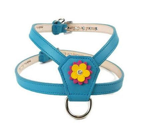 Penelope Flower Leather K Harness with Swarovski Crystal on Flower - Around The Collar NY