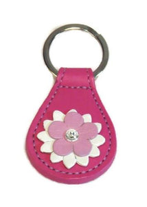 Penelope Flower Leather Key FOB with Swarovski Crystal on Flower - Around The Collar NY