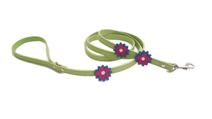 Penelope Leather Flower Leash with 3 Flowers and Swarovski Crystal on Flower - Around The Collar NY