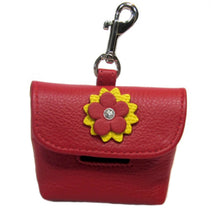 Load image into Gallery viewer, Penelope Flower Leather Poop Bag Holder with Swarovski Crystal - Around The Collar NY