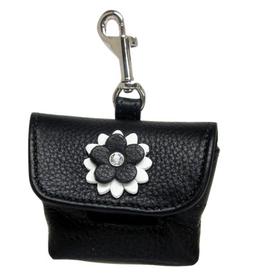 Penelope Flower Leather Poop Bag Holder with Swarovski Crystal - Around The Collar NY