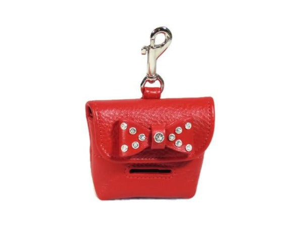 Bow Poop Bag Holder with Swarovski Crystals on Bow - Around The Collar NY