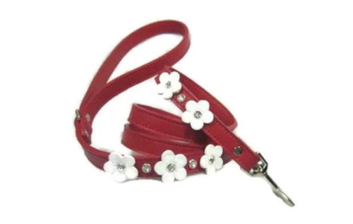 Ellie 5 Flower Leather Leash with Swarovski Crystals on Flower and Leash