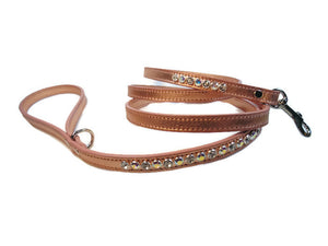 Shanti Leather 2 Tone Crystal Leash - Around The Collar NY