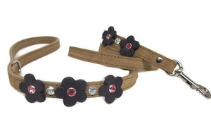 Ellie 5 Flower Leather Leash with Swarovski Crystals on Flower and Leash - Around The Collar NY
