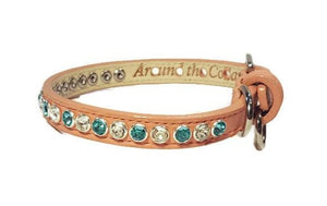 Shanti Leather Jewel Collar with Alternating Crystals - Around The Collar NY