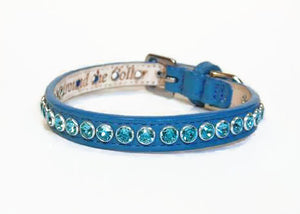 Shanti Single Row Close Crystals Leather Dog Collar - Around The Collar NY