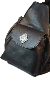 Maria Leather Sling with Diamond on Pocket Flap - Around The Collar NY