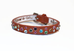 Stacy Rainbow Multi Cluster Jeweled Leather Dog Collar - Around The Collar NY