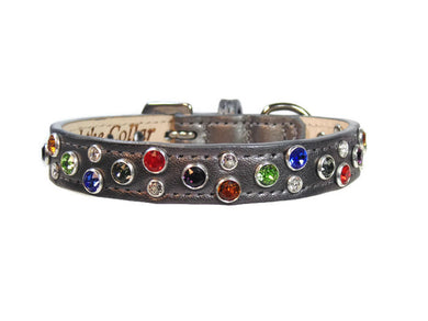 Stacy Rainbow Multi Cluster Swarovski Jeweled Leather Dog Collar - Around The Collar NY
