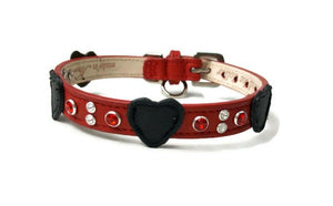 Leather Hearts with Crystal Cluster - Around The Collar NY