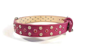 Stella Jewel 2 Tone Cluster Leather Dog Collar - Around The Collar NY