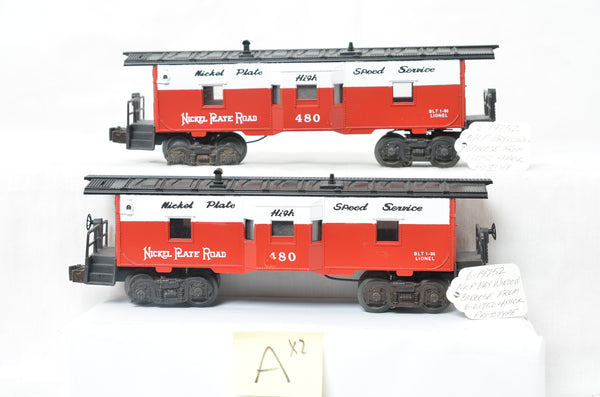 Pair of 19752 Nickel Plate Bay Window Caboose Prototypes from 21750 Set - Varies from production