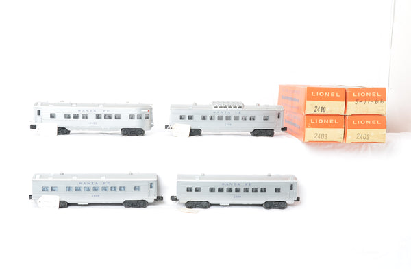 Lionel postwar 2408, 2409, 2409, and 2410 Santa Fe production sample passenger set