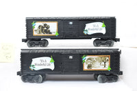 Lionel 25047 and 25048 It's a Wonderful Life boxcar prototypes produced for Land's End