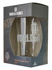 World of Tanks Etched-White Logo Stein