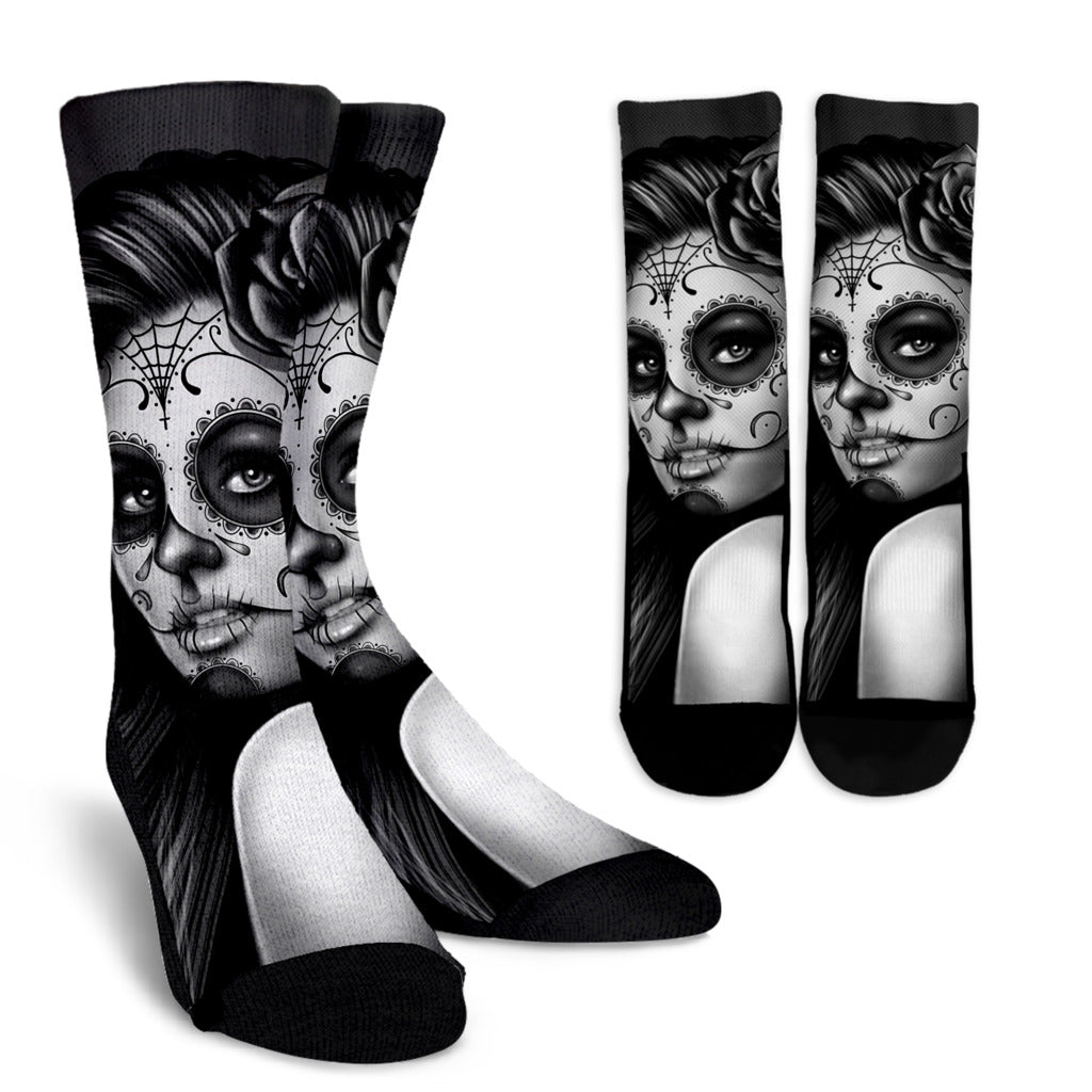 Calavera Art Socks - Grey
