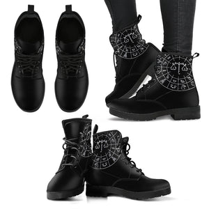 Libra Black Zodiac Women's Leather Boots