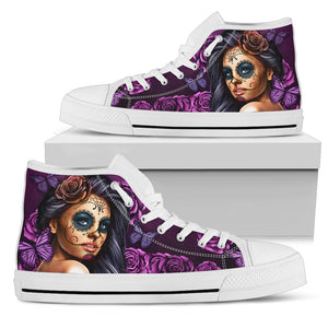 Women's High Tops Calavera Violet (White Soles)
