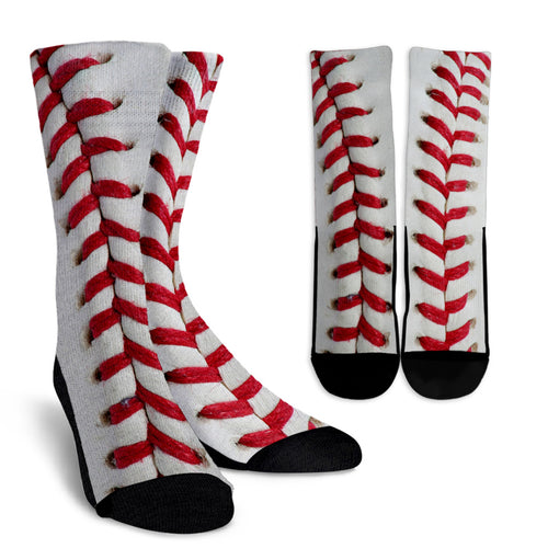 Baseball Print Crew Socks
