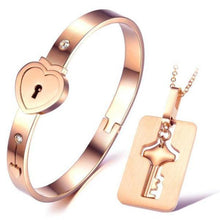 Rose Gold Love Lock Necklace and Bracelet Set
