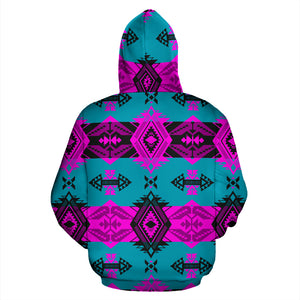 Sovereign Nation Teal and Pink Sokapi Zip-Up Hoodie