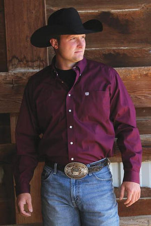 Men's Cinch Solid Burgundy Shirt
