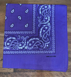 Light Purple Paisley Design Bandana - 100% Cotton